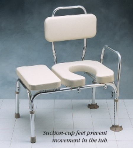North Coast Padded Transfer Bench With Commode Opening