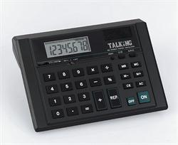 Talking desktop calculator with earphone