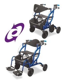 PR17585 Airgo Fusion Side-Folding Rollator and Transport Chair
