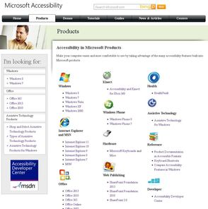 Windows Accessibility Product Page