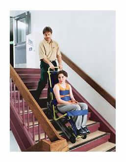 Garaventa Evacu-Trac Chair - in use on stairs