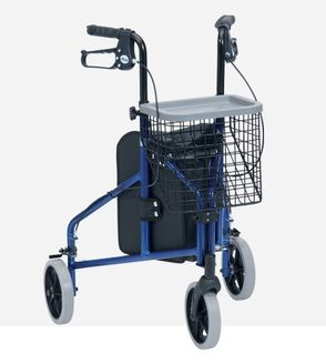 Ultralight Aluminium Triwalker - shown with optional basket and tray.