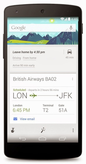 Google Now user interface