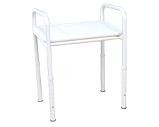 Shower stool with angled clip-on seat