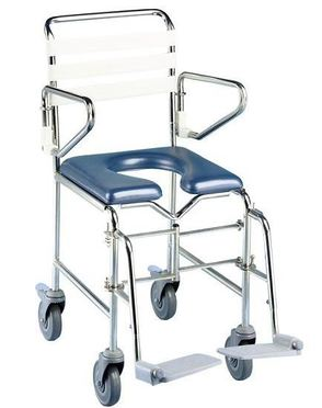 Transit mobile shower commode with front opening seat, swingback arms and separate footplates