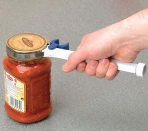 Homecraft Mighty Lever Jar & Bottle Opener - in use opening a jar