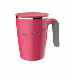 Non-spill Mug - Coral colour, shown with lid in place