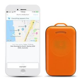 AbiBird AbiButton - shown beside smartphone showing GPS tracking app