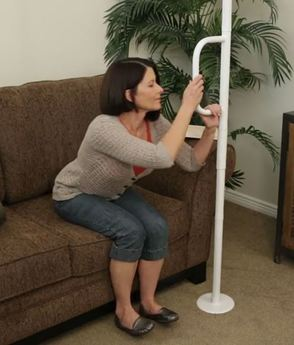 Able Life Floor To Ceiling Grab Bar - in use for chair transfer