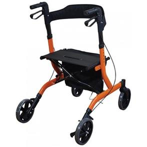 Rollator in orange colour - back view