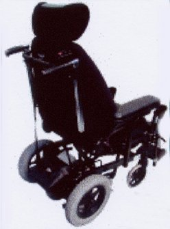 Power Assist System mounted to the back of the Jewel Tilt in Space manual wheelchair