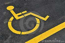 Ground sign for car parking for disabled people