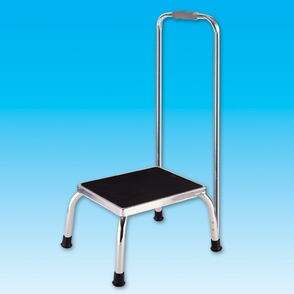 Footstool with safety hand rail