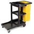 Janitorial Cart with yellow zippered bag