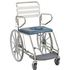 Self propelling mobile shower commode with closed hole seat, swing-back arms and sliding footplate