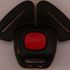 Lilli Blossom Buckle Guard - example of round edge red car restraint buttonbutton