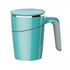 Non-spill Mug - Turquoise colour, shown with lid in place